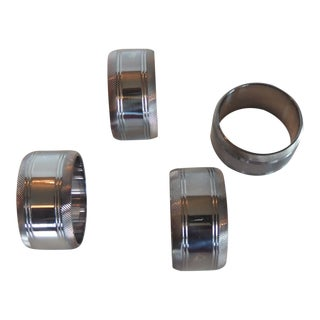 Set of '4' Hotel Silver Hand-Made Napkin Rings For Sale