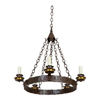 Rustic Medieval Style Wrought Iron Chandelier For Sale