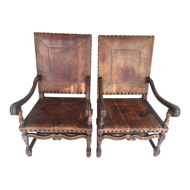 300-Year-Old Antique Spanish Chairs - A Pair - Image 1 of 8 - 300-Year-Old Antique Spanish Chairs - A Pair Chairish