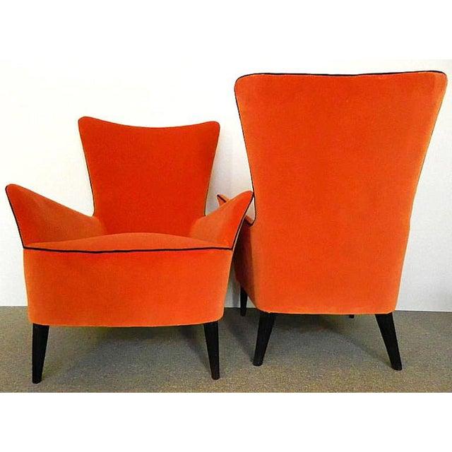 1960s Pair of Italian Mid Century Modern Reupholstered Orange Velvet Armchairs, 1960s For Sale - Image 5 of 8