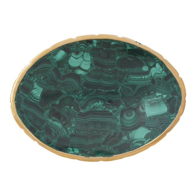 Vintage Oval Malachite Dish With Scalloped Brass Rim For Sale