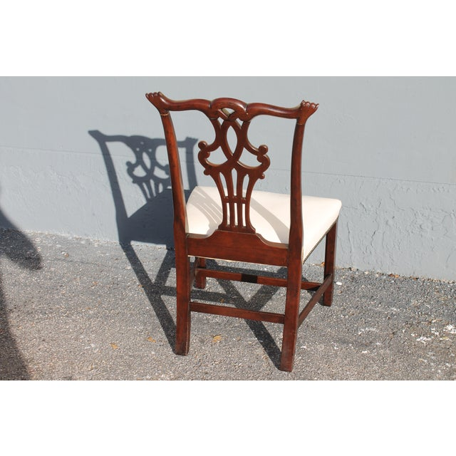 Vintage Mid-Century Chippendale Style Carved Mahogany Occasional Chair For Sale - Image 10 of 12