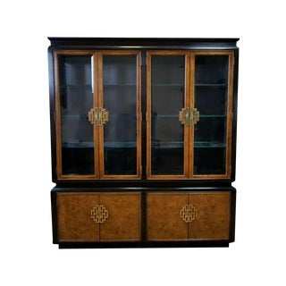 1960s Hollywood Regency Tomlinson Two-Tone Burl China Cabinet