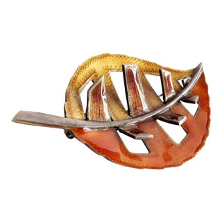1960's Mid Century Modernist Enamel Leaf Brooch For Sale