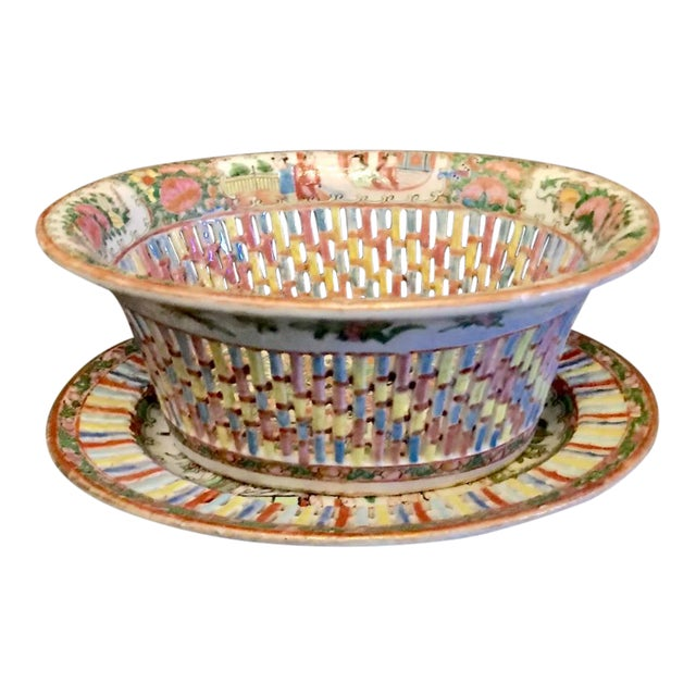 Chinese Export Rose Medallion Reticulated Bowl and Underplate, circa 1860 For Sale