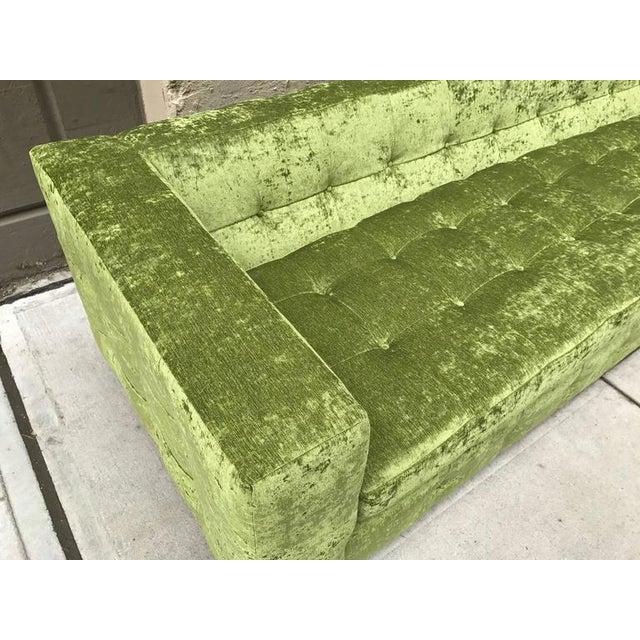 2010s Custom Tufted Green Velvet Sofa Flavor Custom Design For Sale - Image 5 of 8
