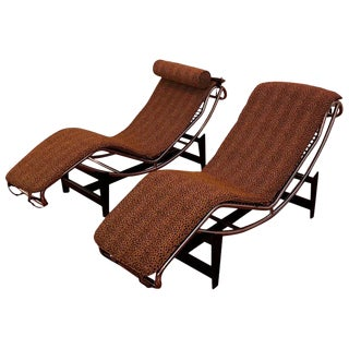 Pair of Le Corbusier Lc4 Style Leopard Print and Chrome Lounge Chair For Sale