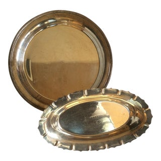Silver Plate Trophy Award Platters, 1953 - A Pair