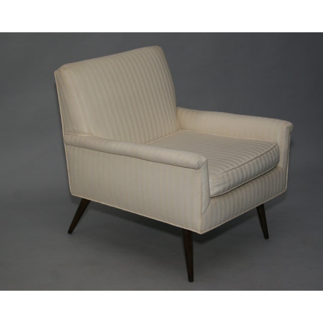 Mid-Century Modern Ivory Stripe Lounge Chair - Image 2 of 8