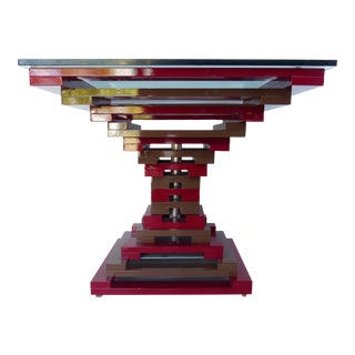 Vintage Geometric Enameled Metal Center Table W/ Glass Top For Sale