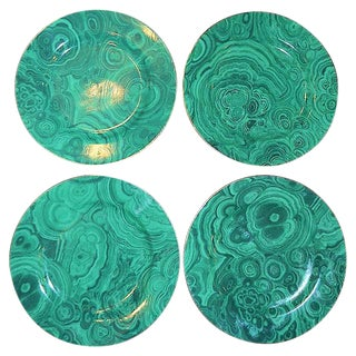 Vintage Neiman Marcus Malachite Tapas Plates Set - 4 Pieces (2-3 Sets Available) For Sale