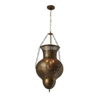Moorish Moroccan Polished Brass Chandelier For Sale