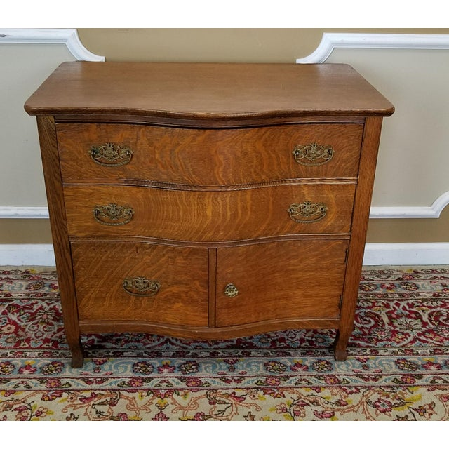 Antique Victorian Quartered Oak Wash Stand Chest C1900 - Image 2 of 9