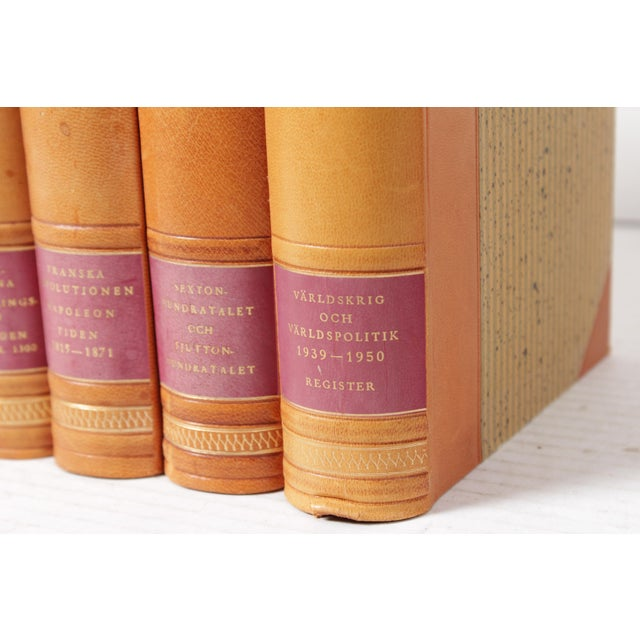 Mid-Century Modern Scandinavian Leather-Bound Books S/7 For Sale - Image 3 of 4