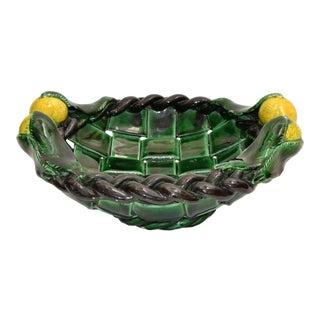 Marked Vallauris France Ceramic Lemon Basket Green & Yellow Mid-Century Modern For Sale