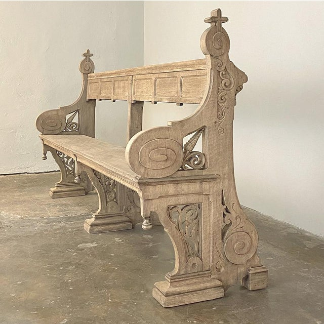 19th Century Gothic Revival Church Pew, Bench For Sale - Image 4 of 13