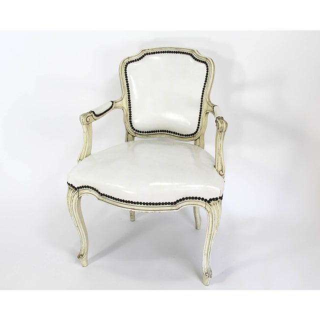 Mid-20th Century Boho Chic Carved Wood and White Leather Arm Chairs - a Pair - Image 11 of 13