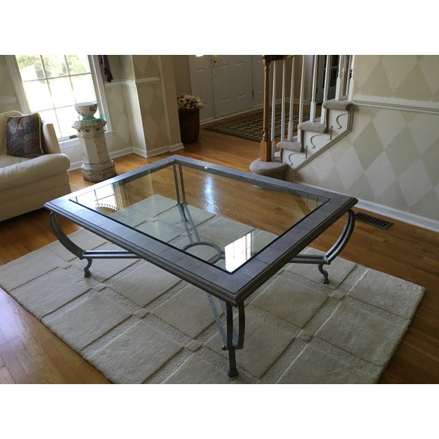 Metal Finish Glass Cocktail Table - Image 7 of 8