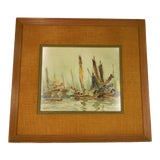 Image of Vintage Mid-Century Kam Cheung Ling Framed Watercolor on Paper Painting For Sale