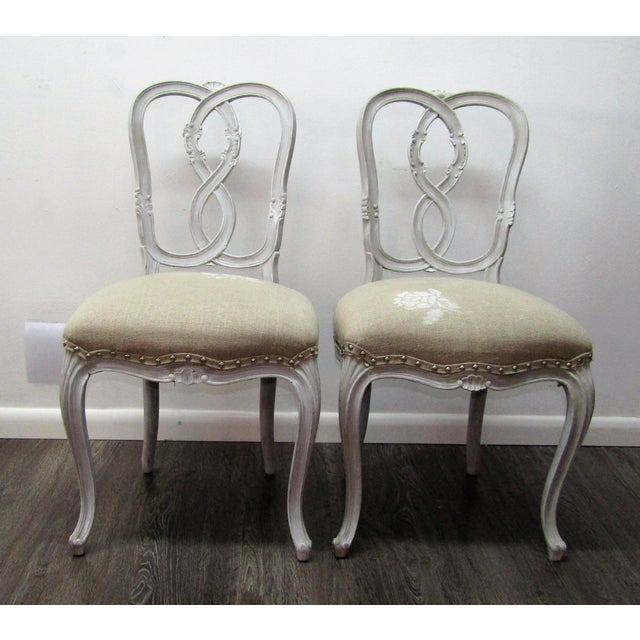 1980s Vintage Figure 8 Wood Frame Chairs- A Pair For Sale - Image 5 of 5