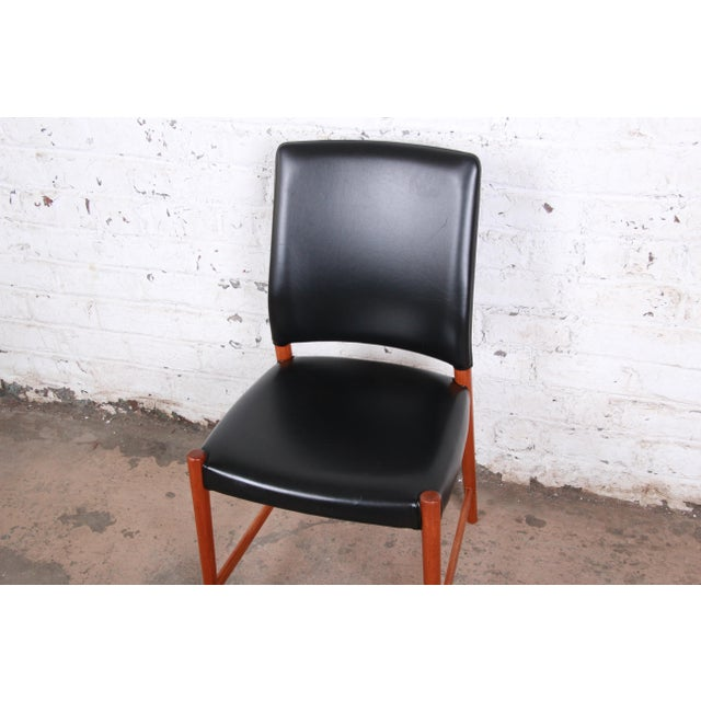 Wood Torbjorn Afdal Teak and Black Leather Dining Chairs, Set of Four For Sale - Image 7 of 11