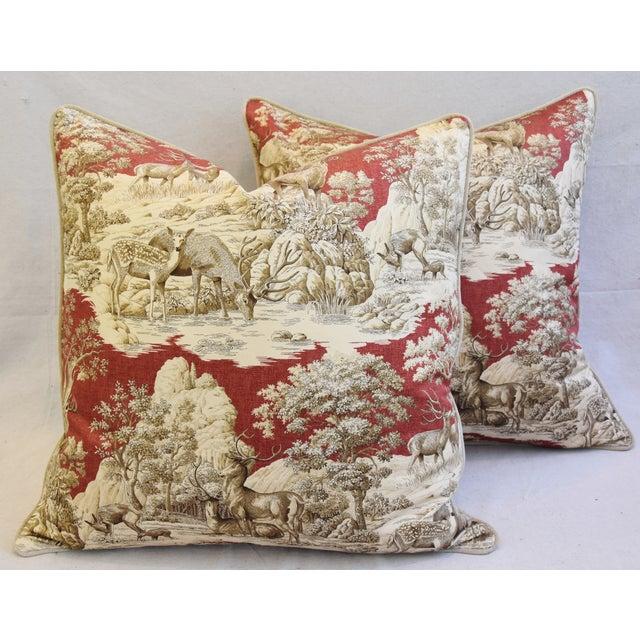Custom Woodland Toile Deer & Velvet Pillows - a Pair - Image 2 of 10