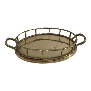 Small Vintage Faux Bamboo Brass Tray