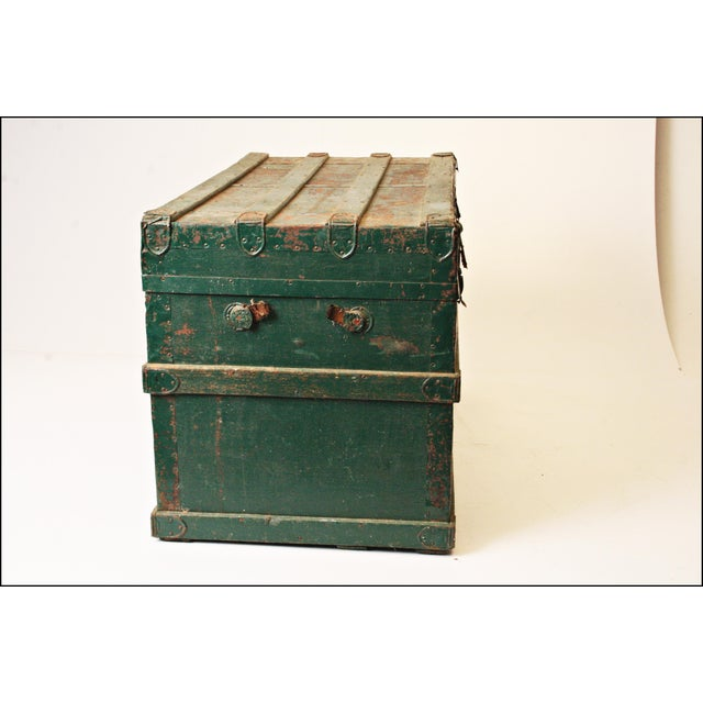 Vintage Industrial Green Wood Steamer Trunk - Image 5 of 11