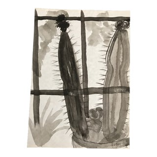 2001 En Grisaille Still Life of Cactus Painting For Sale