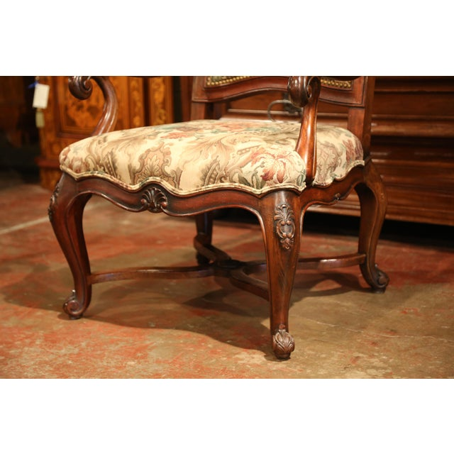 French Carved Walnut and Fruitwood Dining Chairs and Armchairs - Set of 8 For Sale - Image 10 of 13