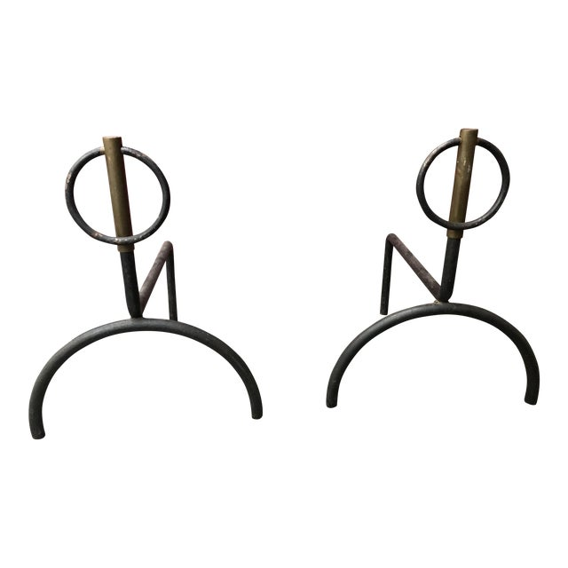 French Modernist Andirons - A Pair - Image 1 of 5
