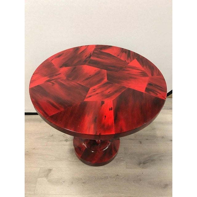 Serge Roche Style Art Deco Red Laquer Palm Tree Tables For Sale In New York - Image 6 of 8