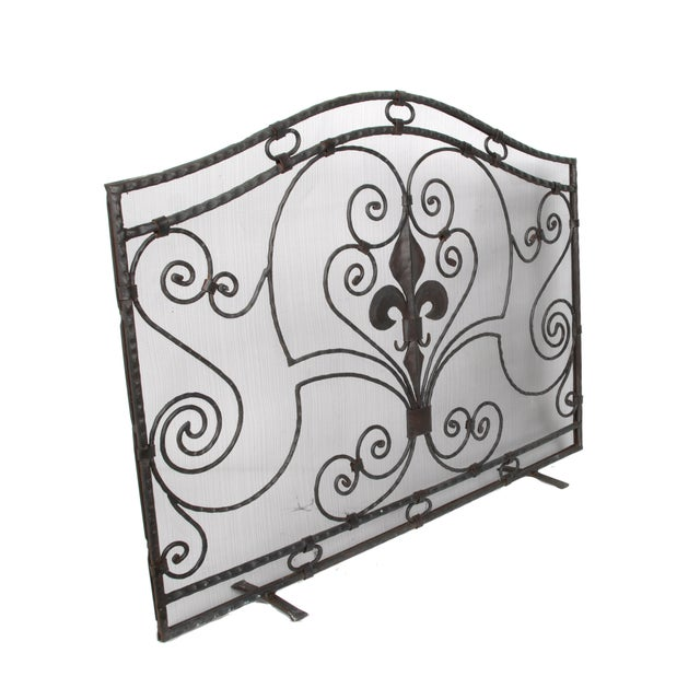 Hand-crafted wrought iron fireplace screen with wire mesh. Age wear. Features a bold fleur-de-lis in the center.