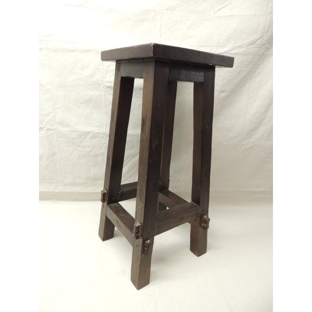 Vintage Arts and Crafts Tall Wood Pedestal - Image 5 of 5