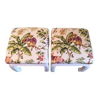 1970s Vintage Chinoiserie Ming Whimsical Monkey Print Stools- A Pair For Sale