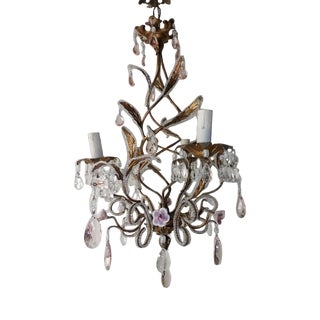 French Beaded Pink Prisms and Porcelain Roses Chandelier For Sale
