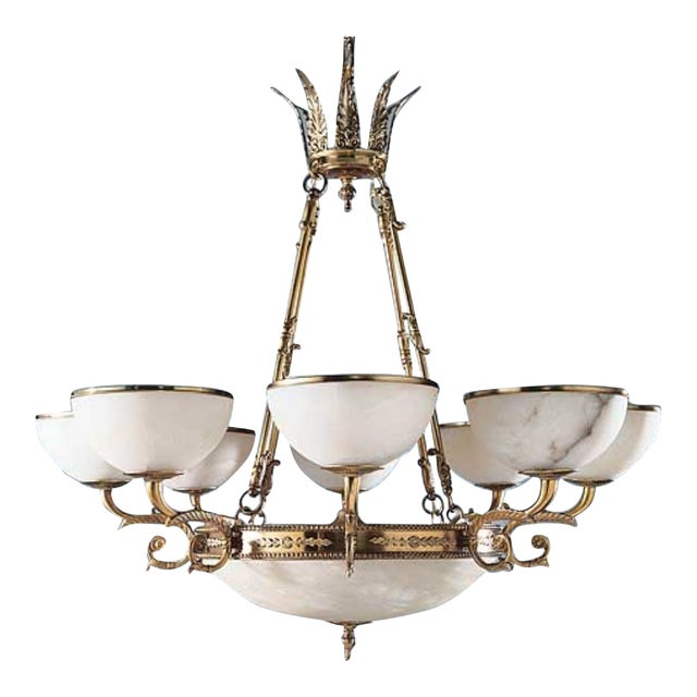 Myran Allen Luxury Lighting Neoclassical Style Cast Bronze Alabaster Chandelier For Sale