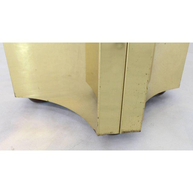 Mid-Century Modern Mirror Glass Top Folded Brass Square Modern Pedestal For Sale - Image 3 of 9