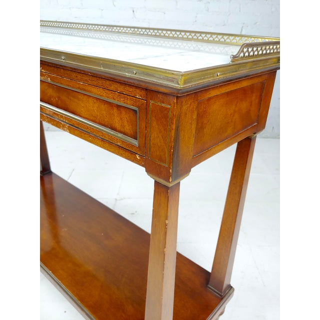 1940s French Style Vintage Marble Top Credenza Console Table For Sale - Image 5 of 8