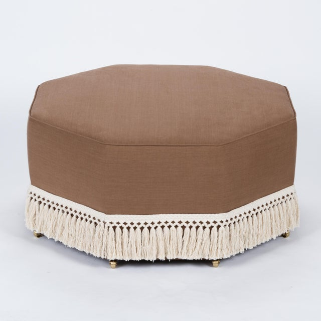 Textile Casa Cosima Istanbul Cocktail Ottoman in Hazel Linen For Sale - Image 7 of 7