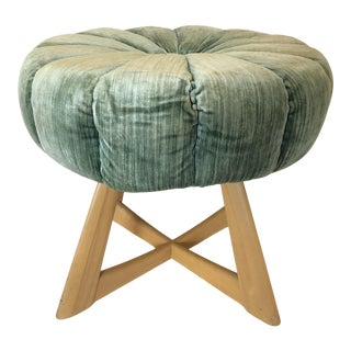 Heywood Wakefield Sculptura Vanity Stool Ottoman For Sale