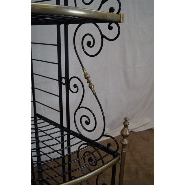 Quality Vintage French Iron Corner Bakers Rack - Image 9 of 10