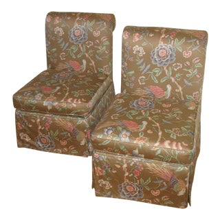 Scalamandre Upholstered Custom Made Parsons Chairs - a Pair For Sale