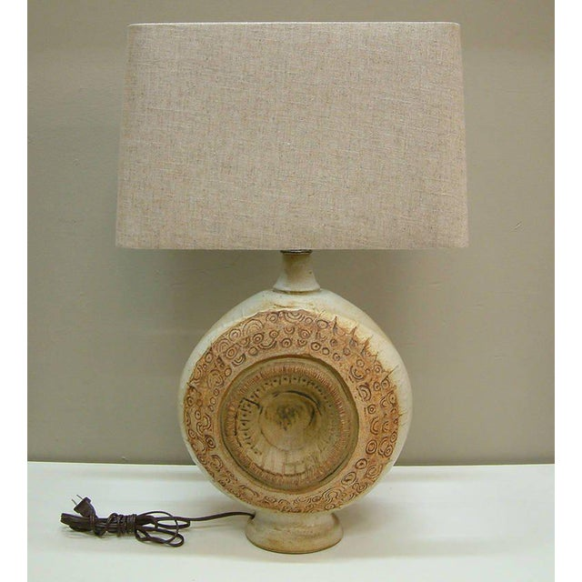 Circa 1970, Bernard Rooke, Brown, Ivory, Tan, Stoneware, Table Lamps - a Pair For Sale - Image 10 of 11