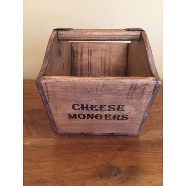 Industrial Vintage Mid-Century English Wooden Cheese and Ham Monger Basket For Sale - Image 3 of 7