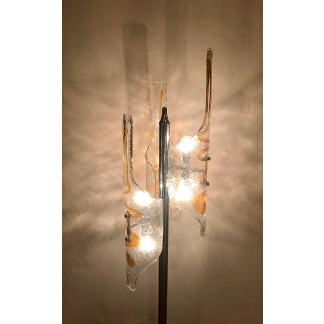 Chrome Tubular Murano Glass Floor Lamp by Mazzega For Sale - Image 7 of 9