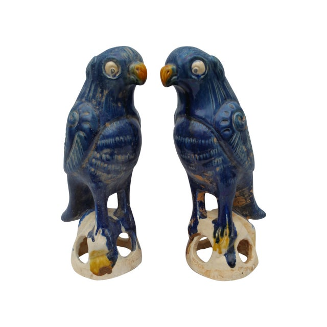 Vintage Blue Majolica Parrot Roof Finials - Pair - Image 1 of 5