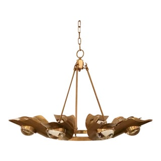 Modern Brass Finished Glass Orb Chandelier For Sale