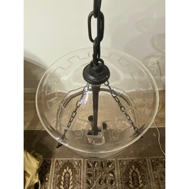 Vintage Smoking Bell Lantern With Greek Key For Sale - Image 4 of 12