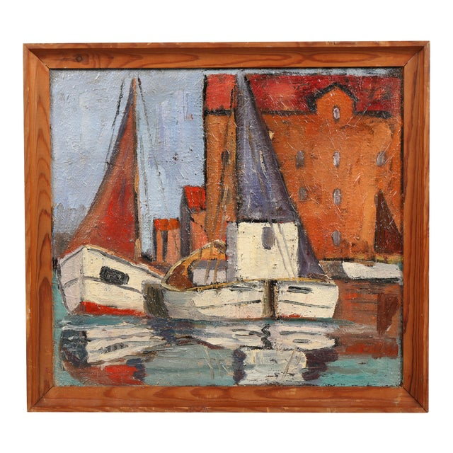Danish Oil Painting 'Sails up in Copenhagen Harbor' For Sale